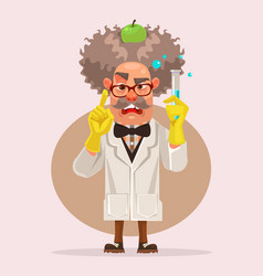 Crazy scientist man character holding flask vector