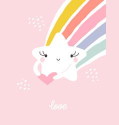 Cute and funny kawaii star with rainbow tail vector