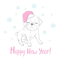Cute puppy in a new year hat and scarf pedigree vector