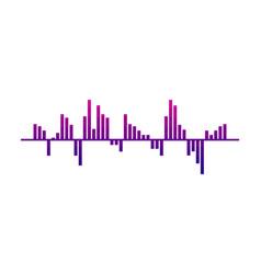 Digital music wave audio equalizer pink-purple vector