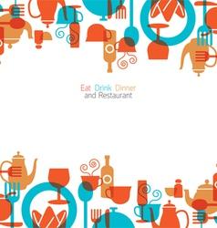 Dinner Restaurant and Eating Icons Frame vector