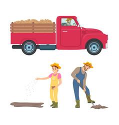 Farming man and woman icons vector