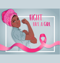 fight like a girl african girl with her fist vector image