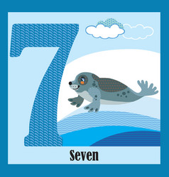 Flat animal numbers 7 vector
