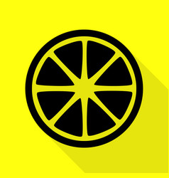 fruits lemon sign black icon with flat style vector image