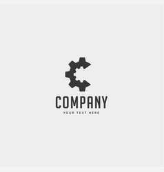 Gear c logo engineering factory icon isolated vector