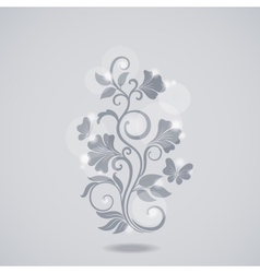 Grayscale floral element vector