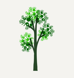 Green hand print tree for nature help vector