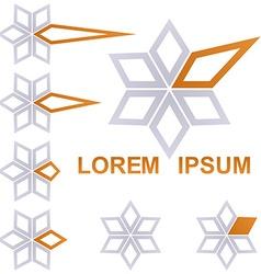 Grey and orange star business icon design set vector