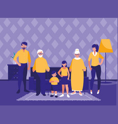 Group of family members in the livingroom vector