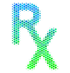 Halftone blue-green rx medical symbol icon vector