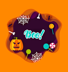 halloween boo papercut concept vector image