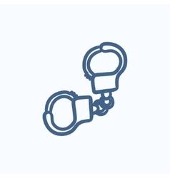 Handcuffs sketch icon vector