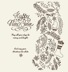 happy new year greetings typography design card vector image