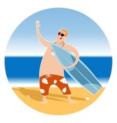 happy surfer on beach vector image