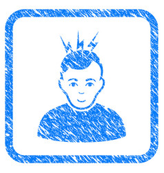Headache framed stamp vector