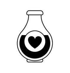 heart labeled flask or potion love valentines day vector image