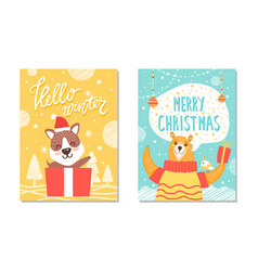 hello winter be merry posters vector image