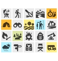 hiking black icons set trip walking tour or vector image