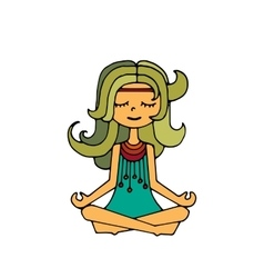 Hippie girl meditation vector