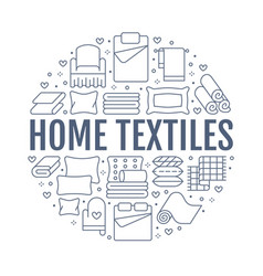 Home textiles circle template with flat line icons vector