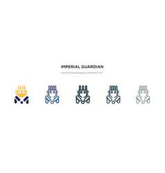 Imperial guardian lion icon in different style vector