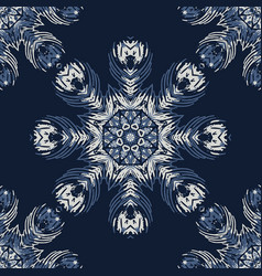 indigo blue feather mandala seamless vector image