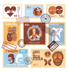 International friendship symbols stamps vector