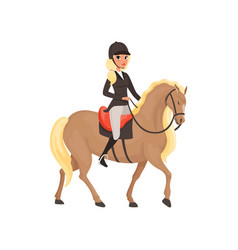 Jockey girl riding horse equestrian professional vector