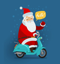 joyful santa claus rides a retro scooter vector image