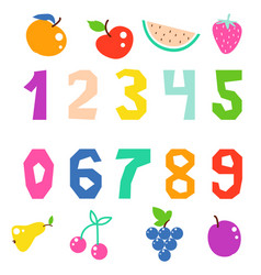 kid math numerals and fruits bright signs vector image