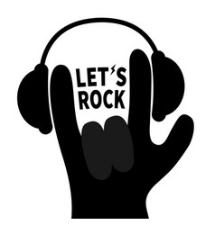 lets rock headphones lightning light rockroll vector image