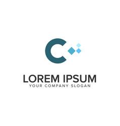 letter c pixel logo design concept template vector image