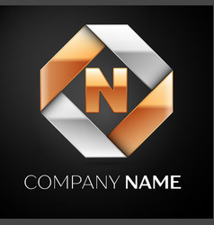 letter n logo symbol in the colorful rhombus on vector image