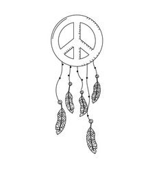 line hippie emblem symbol with feathers design vector image