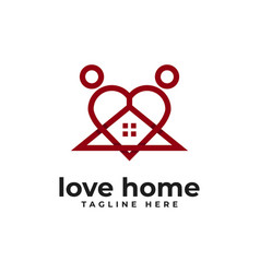 love home with abstract people logo icon vector image