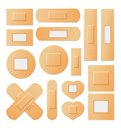 Medical beige plasters of all possible shapes set vector