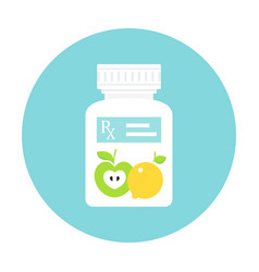 Medicine pills bottle with rx prescription sticker vector