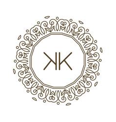 Monogram k logo and text badge emblem line art vector