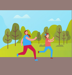 Mother and daughter jogging in green park vector