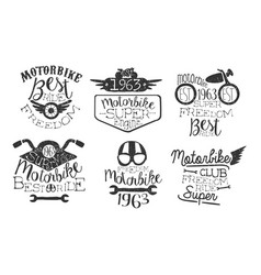 motorbike club retro labels set super freedom vector image