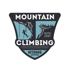 Mountain climbing vintage isolated badge vector
