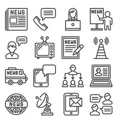 news and media communication icons set on white vector image