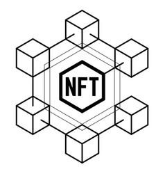 Nft non fungible token black and white vector