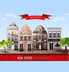 Old european houses poster vector