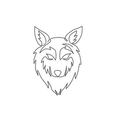 one single line drawing dangerous wolf head vector image
