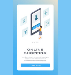 Online shopping isometric mobile app page vector