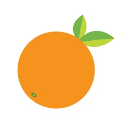 Orange fruit icon with leaf Healthy lifestyle vector