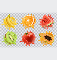 Orange kiwi fruit banana tomato watermelon papaya vector