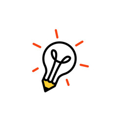 pencil bulb lamp idea think creative logo icon vector image